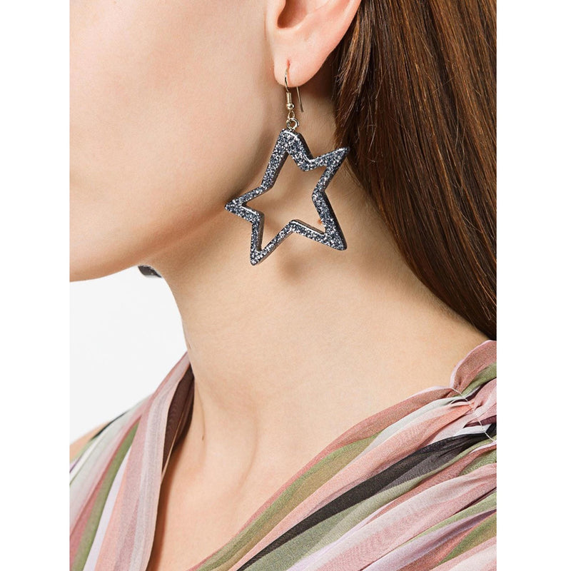 C STAR GLITTER SILVER EARRINGS