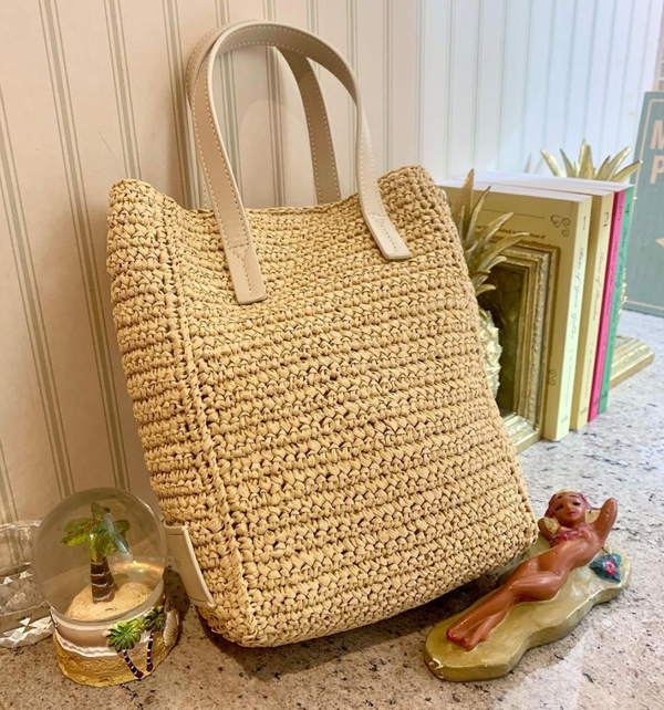 SHOPPER TOTE MEDIUM RAFFIA BRIGHT CREAM