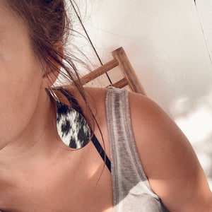 Black + White [Leather Earrings]