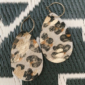Goldie Earrings [Grande Cheetah + Gold]
