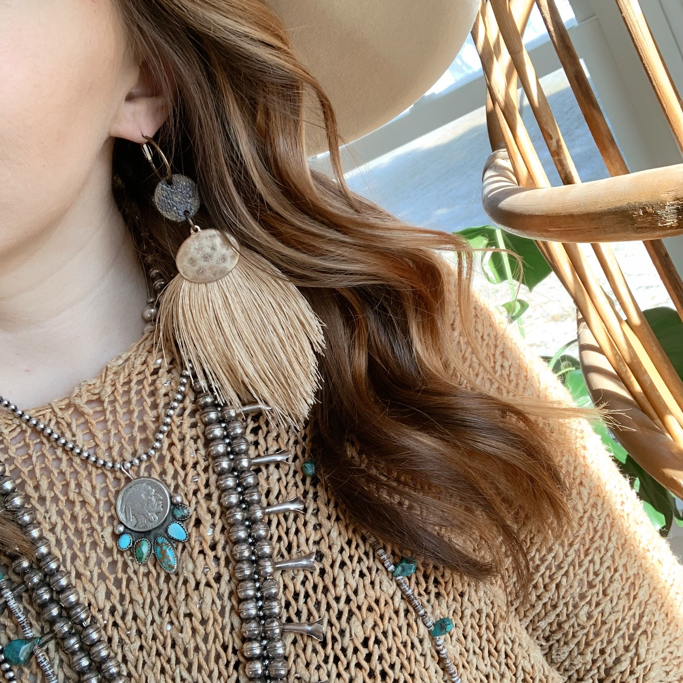 Reid Earring [Upcycled Tan Fringe]