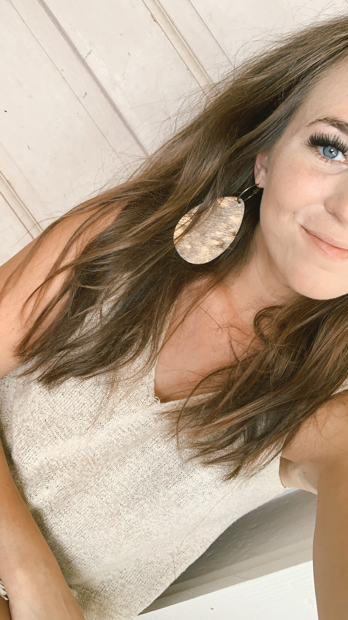 Goldie Earrings [Grande Bronze Hair On]