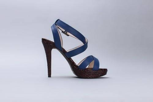 Blue leather Ankle Strap Heels