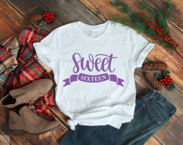 81386fca4 Sweet Sixteen Cute Women's White T-shirt with FREE SHIPPING. Perfect gift  for the