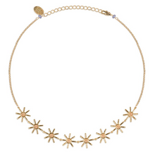 Load image into Gallery viewer, flower ring, unique, edgy, fun, style, woman, season, love, cute, adorable, earrings, necklace, chocker, stars, shine, crochet, chains, brass, gold-plated