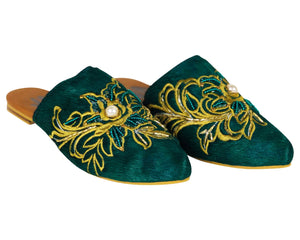 Embroidered Flat Mules green, colombian, Embroidered Flat Mules, Handmade, shoes, trendy, style, fashion, comfortable, unique