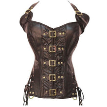 Load image into Gallery viewer, Ladies Leather Corset Overbust Lace Up Back Zip Up Front W/Buckles Side Lace