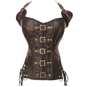 Ladies Leather Corset Overbust Lace Up Back Zip Up Front W/Buckles Side Lace