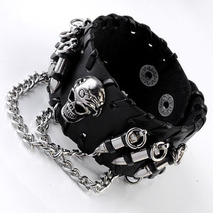 Leather Wristband Bullet Adjustable Skull Metal Chain Bracelet Biker Rock Gothic