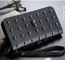 Load image into Gallery viewer, Ladies Leather Hand Purse Black Skull Studs PU Leather Wallet Zipper Close