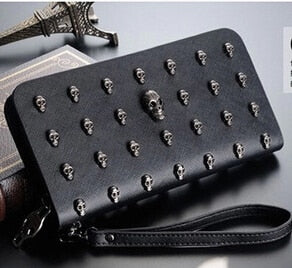 Ladies Leather Hand Purse Black Skull Studs PU Leather Wallet Zipper Close