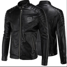 Load image into Gallery viewer, Men's Leather Racing Jacket Coat  Racing Collar Zip Up Front & Pocket