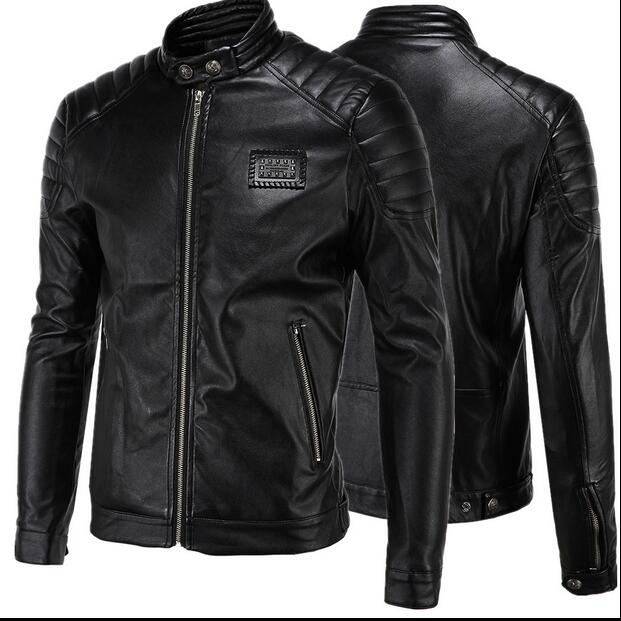 Men's Leather Racing Jacket Coat  Racing Collar Zip Up Front & Pocket