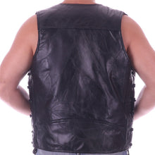 Load image into Gallery viewer, Men's Leather Vest S/Laces 1 Panel Back For Embroidery Or Patches retention Ventilation*
