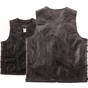 Men's Leather Vest S/Laces 1 Panel Back For Embroidery Or Patches retention Ventilation*