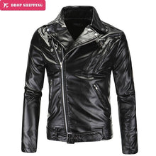 Load image into Gallery viewer, Men's Leather Motorcycle Jackets Classic Collar Zipper Outerwear Good Quality