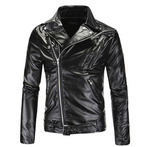 Men's Leather Motorcycle Jackets Classic Collar Zipper Outerwear Good Quality