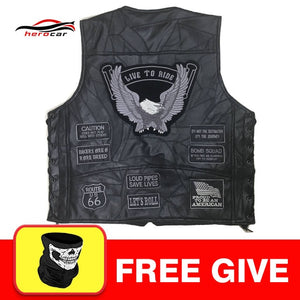 Men's Leather Vest Side Lace 2/Front Pockets 1/Piece Panel For Patches Or Embroidery