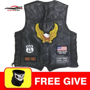 Men's Leather Vest Plain Front Snap 1/Panel Back For Patches & Embroidery 2/Pockets