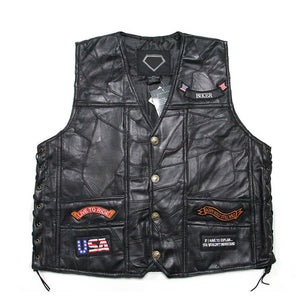 Men's Leather Vest Side Lace Patch Leather Front Snap 2/Front Pockets