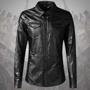New Men Clothing Casual Slim Fit men long sleeve Leather shirt Motorcycle  jacket Men Dress Shirt ea459cb9e
