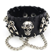 Load image into Gallery viewer, Leather Wristband Cowhide Leather Bullet Bangle Skeleton Chain Wristband Bracelet