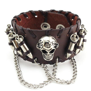 Leather Wristband Cowhide Leather Bullet Bangle Skeleton Chain Wristband Bracelet