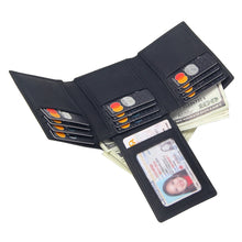 Load image into Gallery viewer, Men's Leather Wallet Trifold Black Solid 14 pcs Credit Card Holders