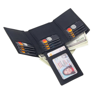 Men's Leather Wallet Trifold Black Solid 14 pcs Credit Card Holders