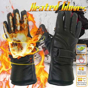 Waterproof Leather Electric Heated Motorcycle Gloves High Temperature Durability