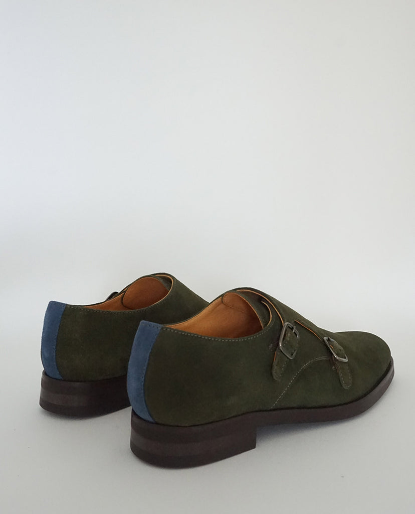Zapato Doble Hebilla Ante Verde The Hundred Shoes