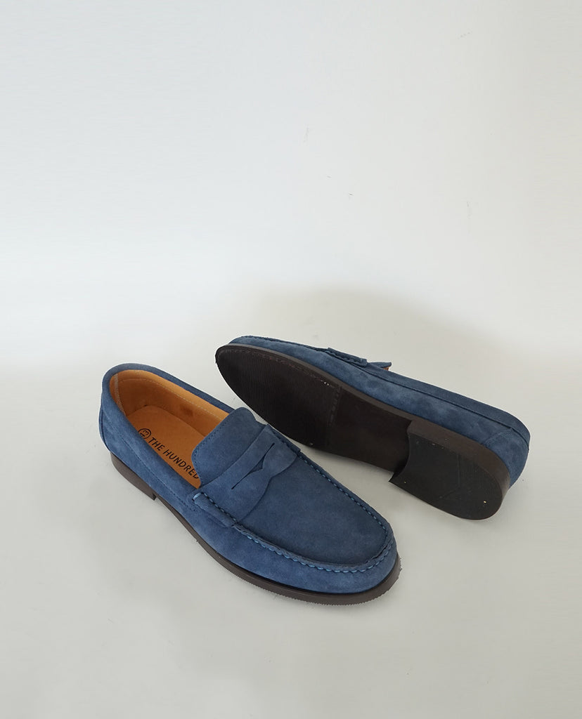 Zapato Mocasín Driver Ante Azul The Hundred Shoes