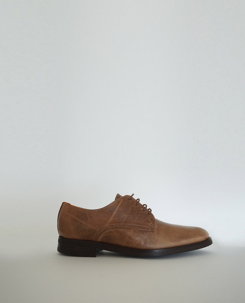 Zapato Oxford Cuero Marrón Lateral - The Hundred Shoes