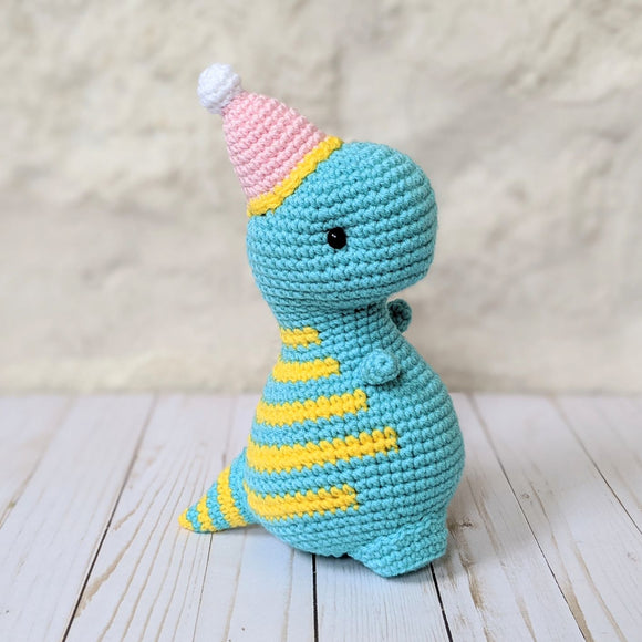 Crochet Birthday Dinosaur Pattern, Amigurumi Dino Pattern from Blue Phone Studios