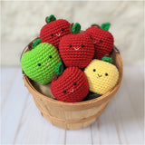 Crochet Fruit Patterns, Apple, Banana, Pear, and Orange Amigurumi Beginner Patterns