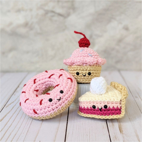 Crochet Desserts Pattern for Play Food, Amigurumi Donut, Cupcake and Pie Plushes