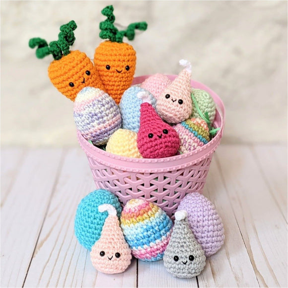 Crochet Easter Patterns, Easter Eggs, Carrots, Hershey Kisses, Amigurumi Easter Candy Patterns