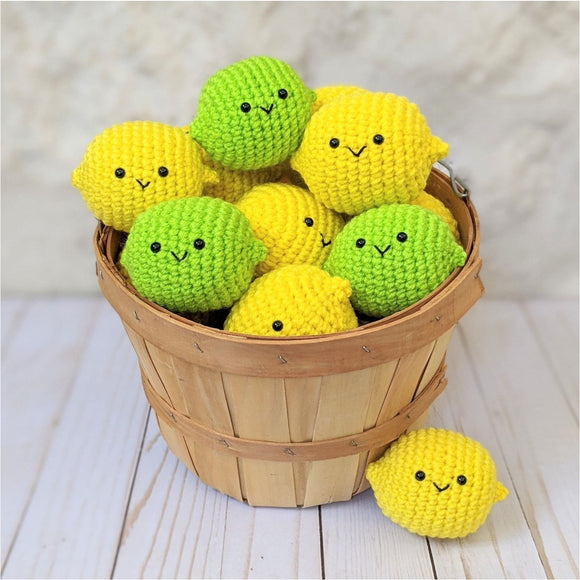 Crochet Food, Amigurumi Lemon and Lime Plushes