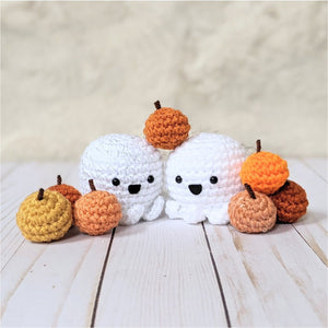 Crochet Halloween Ghost and Pumpkins Pattern, Amigurumi Fall Decor Easy Beginner Patterns