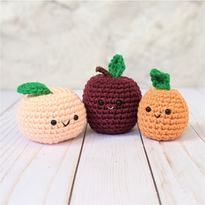 Crochet Fruit Pattern, Amigurumi Peach, Plum, and Apricot Plushes, Easy Beginner Patterns