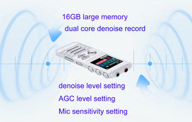 003 Escytegr Voice Activated Recorder Double Microphone Dual-Core Denoise Record 16GB Audio Recorder