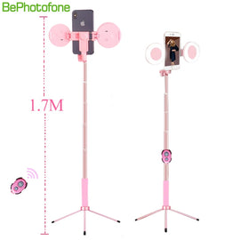 1.7m Extendable live Tripod Selfie Stick Support LED Ring Dual light mirror Stand 4 in 1 Phone Mount