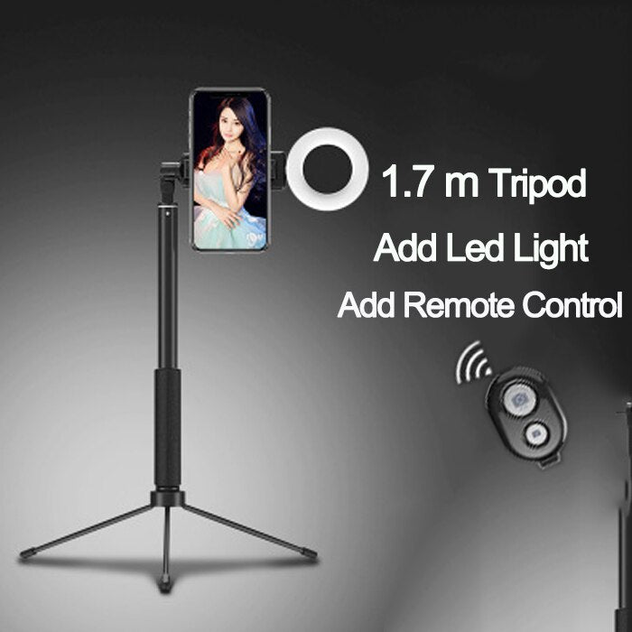 1.7m Extendable live Tripod Selfie Stick Support LED Ring light Stand 4 in 1 With Phone Mount for