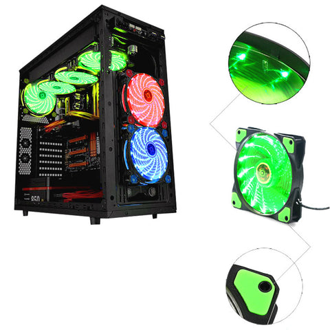 120mm PC Computer 16dB Ultra Silent 33 LEDs Case Fan Heatsink Cooler Cooling w/ Anti-Vibration