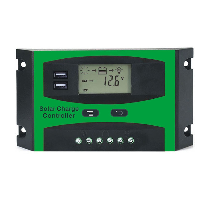 12V 24V Two USB Port 40A 50A 60A PWM Solar cell panel battery Charge Controller Regulators LCD