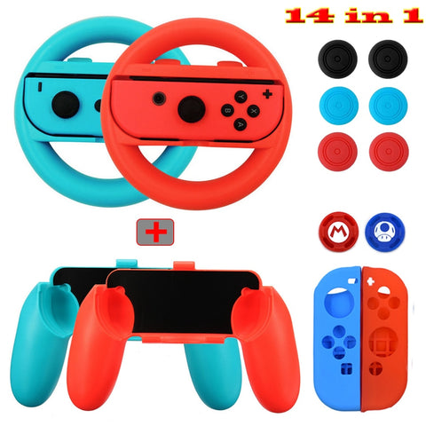 14 in 1 Nintend Switch Accessories Kit with Steer Wheel Handle Grips Silicone Case Analog Caps for