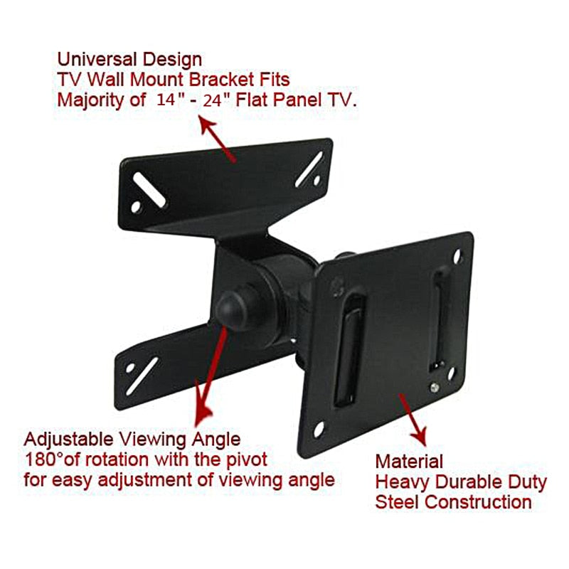 15KG Adjustable TV Wall Mount TV Holder Rotated TV Wall Bracket Support 180° Rotation for 14~24 Inch