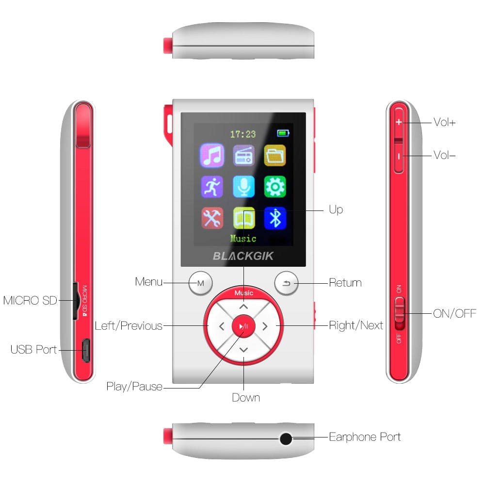 16GB MP3 Player Bluetooth HiFi Digital MP3 Music Player Lossless Mini Portable Reproductor MP3 Car