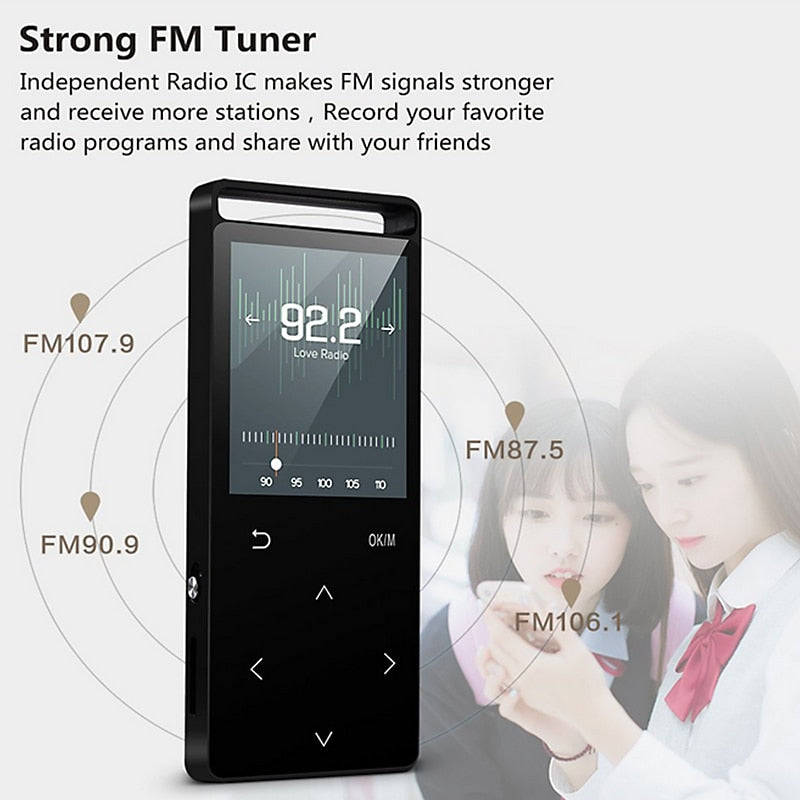 16GB MP3 Player Bluetooth HiFi Digital Music Mini Portable Audio Player W Inbuild Speaker FM Radio