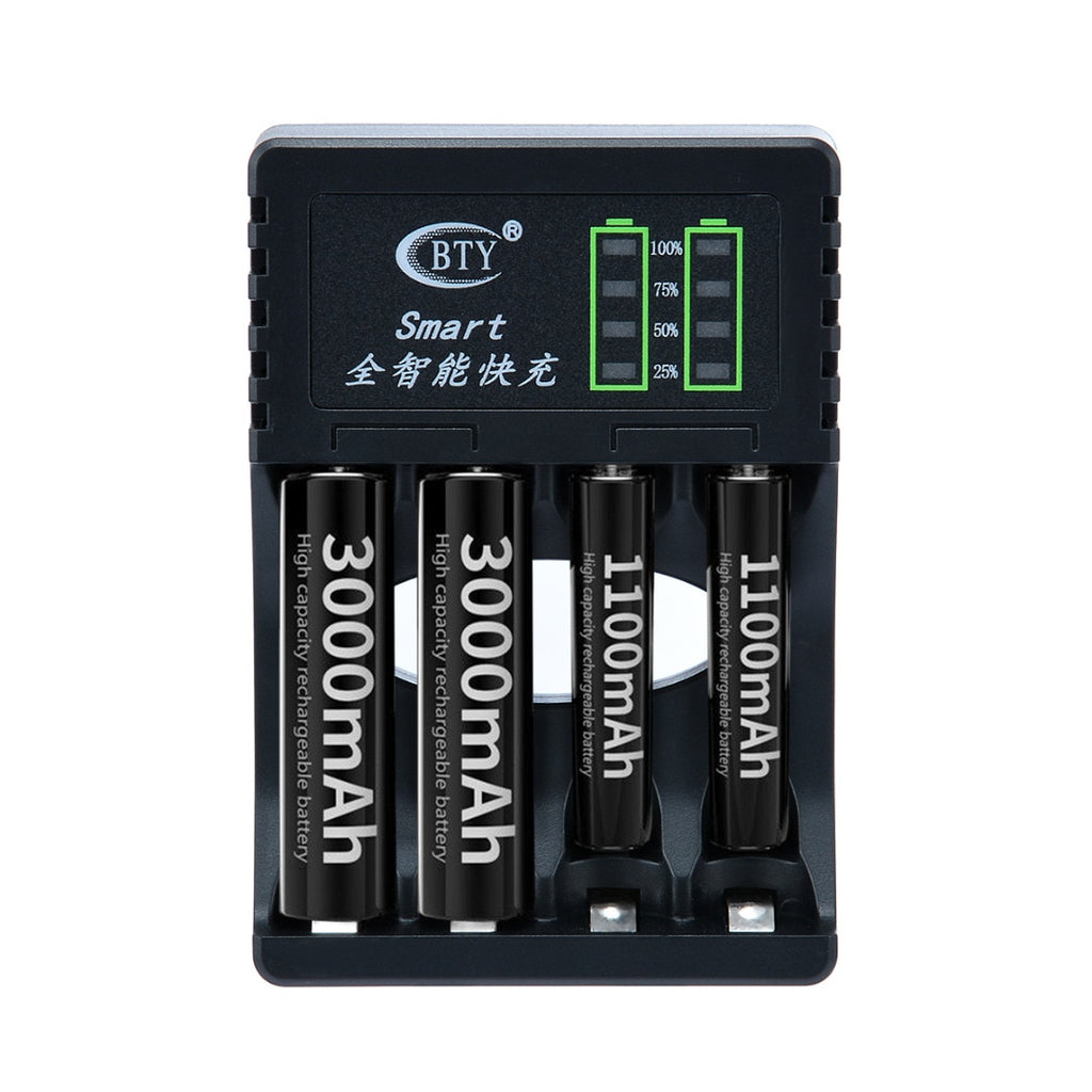1pc 4 Slots LED Battery Charger Smart Rechargeable Battery Chargers 2 Colors For AA/AAA